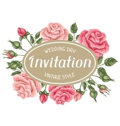 Invitation card with vintage roses decorative vector