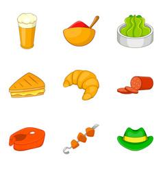 bbq restaurant icons set cartoon style vector image