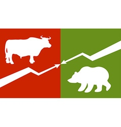 Bull and bear traders at stock exchange business vector