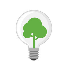 cartoon lamp green light bulb design flat vector image vector image