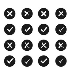 check and cross icon set vector image vector image