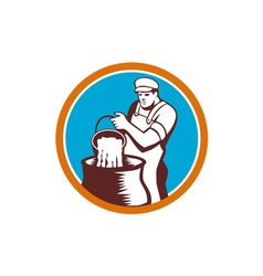 Cheesemaker pouring bucket curd circle woodcut vector