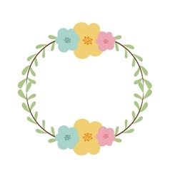 Circular border with leaves and flowers vector