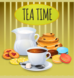 Collection tea with milk pot and sweets vector