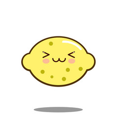 Cute lemon fruit cartoon character icon kawaii vector