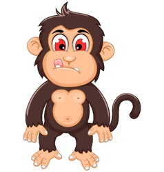 Cute monkey cartoon standing vector