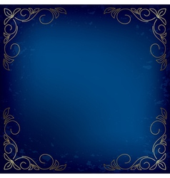Dark blue card with gold decor vector
