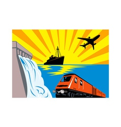 Diesel train locomotive retro vector