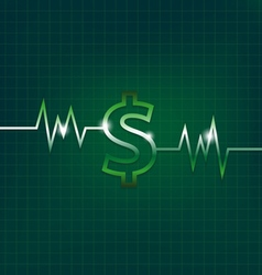 Dollar sign concept with pulsation vector image vector image