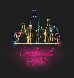 Fresh cocktail bar neon sign vector