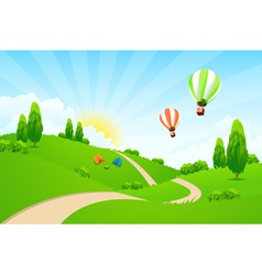 Green landscape with road hot-air-balloons vector