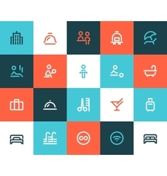 Hotel icons flat style vector