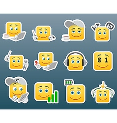 IT support worker smile stickers vector image