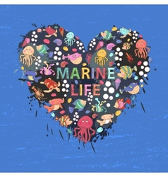 Marine life heart background vector