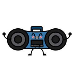 old radio stereo cute kawaii cartoon vector image