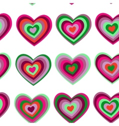 purple green striped heart on white background vector image vector image