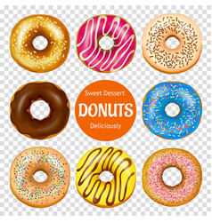 realistic donuts set vector image vector image