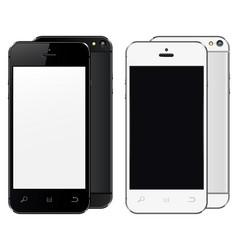 realistic mobile phones with blank screen isolated vector image vector image