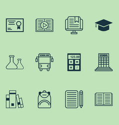 School icons set collection of e-study opened vector