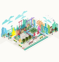Set of isometric city social infographics vector image