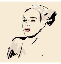 Sketch Beautiful girl vector image