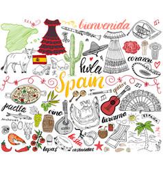 Spain hand drawn sketch set vector