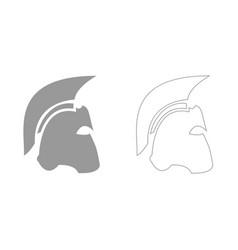 spartan helmet grey set icon vector image