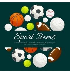 Sport items and balls label emblem vector