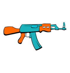 kalashnikov assault rifle icon cartoon vector image