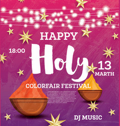 Happy holi celebration poster with neon lights vector