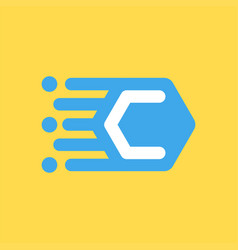 C letter icon speed concept vector