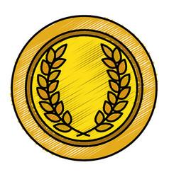 Medallion with wreath award vector