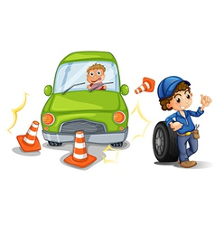 A car bumping the traffic cones vector image