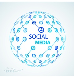 Social media element icon sphere worldwide vector