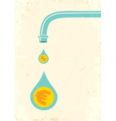 Faucet and money vector