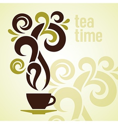Tea time vintage vector