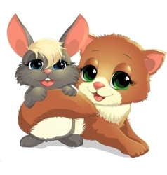 Kitten and bunny vector