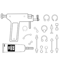 Body piercing equipment vector