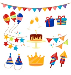 Happy birthday party celebration elements set vector