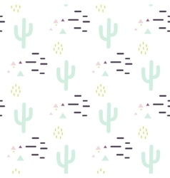 Mint and white cactus desert seamless pattern vector