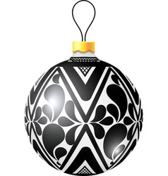 Christmas black and white ball on white background vector
