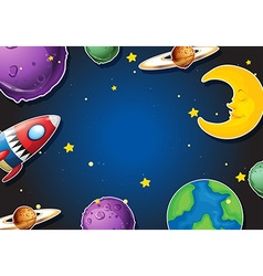 Background design with rocket and planets vector