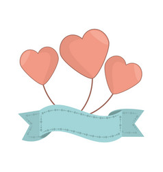 Balloon heart ribbon decorative vector