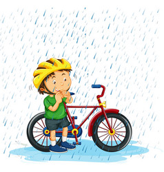 Boy riding bike in rain vector