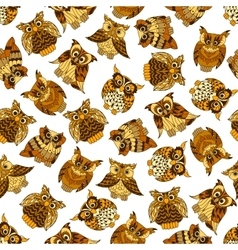 Brown forest owls seamless pattern vector image