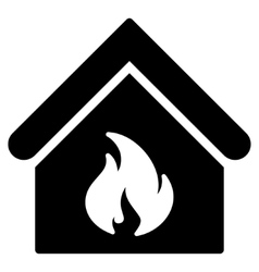 Building fire flat icon vector