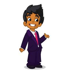 Cartoon arab boy presenting vector