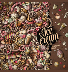 cartoon hand-drawn doodles ice cream frame vector image