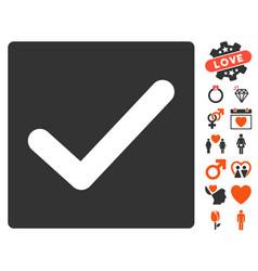 check icon with love bonus vector image vector image