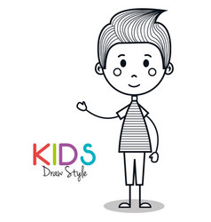 cute little boy drawing vector image